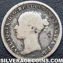 """1879 Queen Victoria British Silver """"Young Head"""" Threepence"""