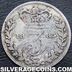 "1885 Queen Victoria British Silver ""Young Head"" Threepence"
