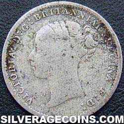 "1886 Queen Victoria British Silver ""Young Head"" Threepence"
