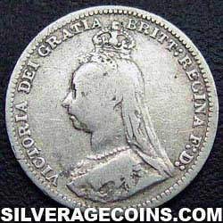"1889-3B Queen Victoria British Silver ""Jubilee Head"" Threepence"