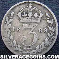"1889-2B Queen Victoria British Silver ""Jubilee Head"" Threepence"