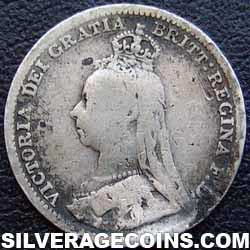 "1891 Queen Victoria British Silver ""Jubilee Head"" Threepence"