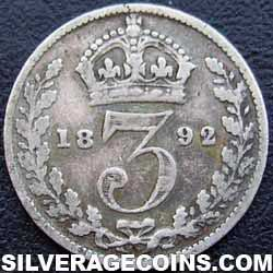 "1892 Queen Victoria British Silver ""Jubilee Head"" Threepence"