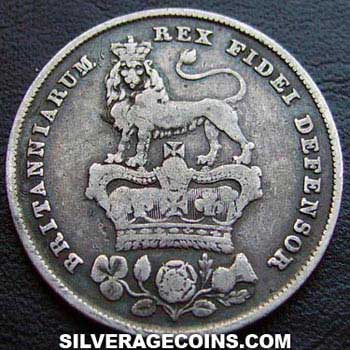 "1826 George IV British Silver ""Bare Head"" Shilling"