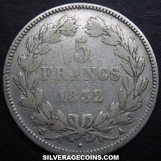 1832A Louis Philippe 5 French Silver Francs