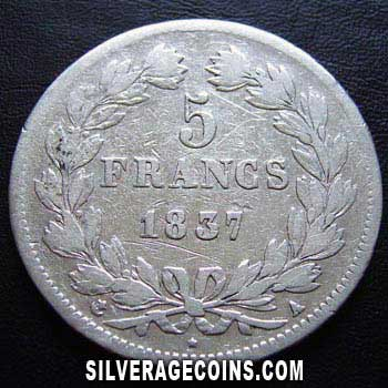 1837A Louis Philippe 5 French Silver Francs