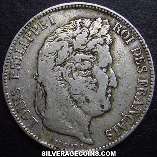 1834W Louis Philippe 5 French Silver Francs
