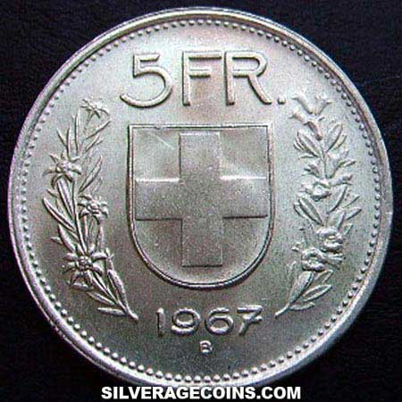 1967b Type 1 5 Silver Swiss Francs William Tell