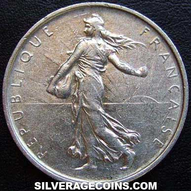 1966 French Silver 5 New Francs