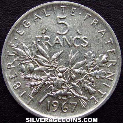 1967 French Silver 5 New Francs