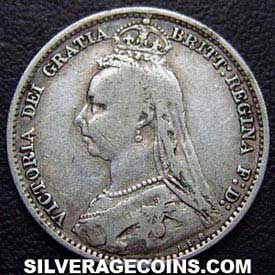 "1890 Victoria British Silver ""Jubilee Head"" Sixpence"