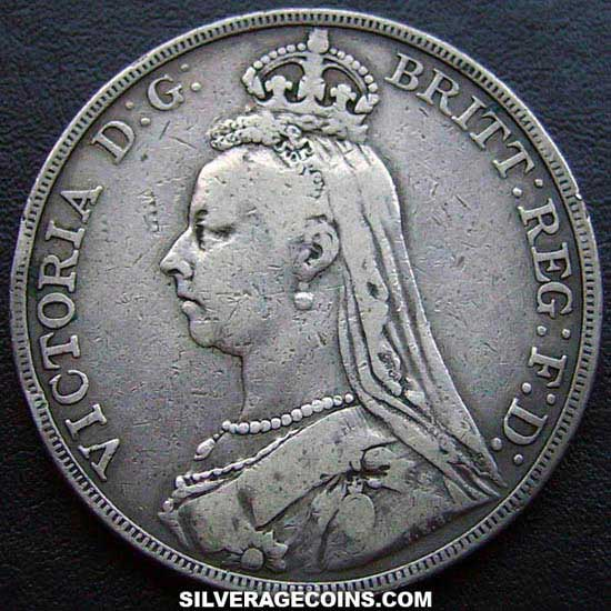 "1889-1A Queen Victoria British Silver ""Jubilee Head"" Crown"