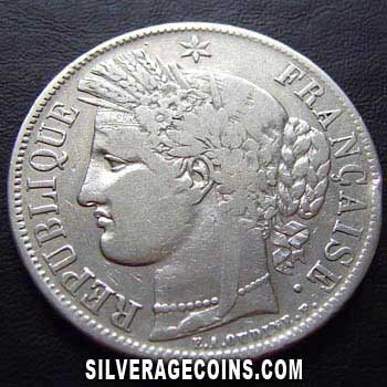 1850A 5 French Silver Francs (Second Republic, Liberty head)