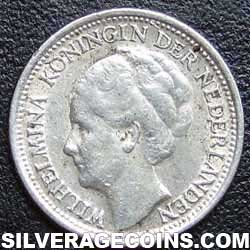 1941 Netherlands Wilhelmina I Silver 10 Cents