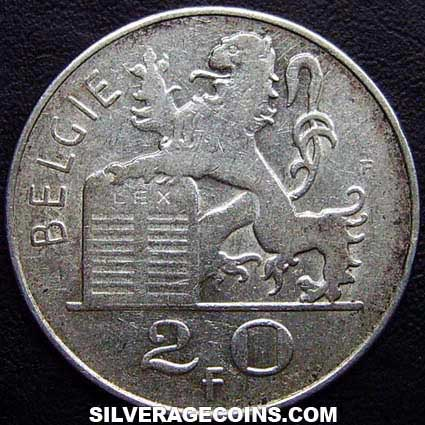 1951 Leopold III Belgian Silver 20 Francs (Dutch, coin alignment)