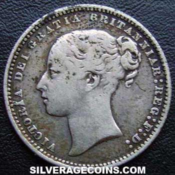 "1871 Queen Victoria British Silver ""Young Head"" Shilling"