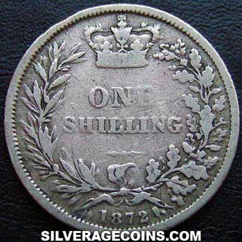 "1872 Queen Victoria British Silver ""Young Head"" Shilling"