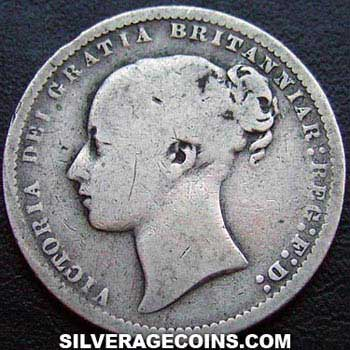 "1874 Queen Victoria British Silver ""Young Head"" Shilling"