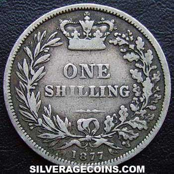 "1877 Queen Victoria British Silver ""Young Head"" Shilling"