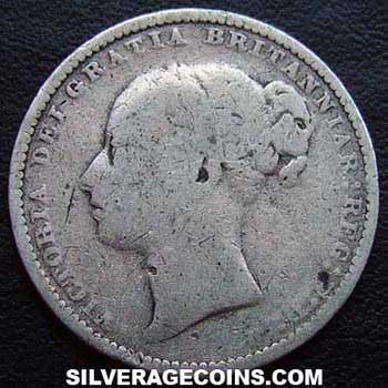 "1881 Queen Victoria British Silver ""Young Head"" Shilling"