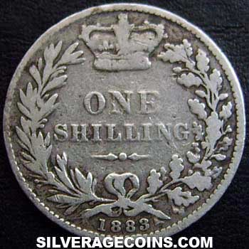 "1883 Queen Victoria British Silver ""Young Head"" Shilling"