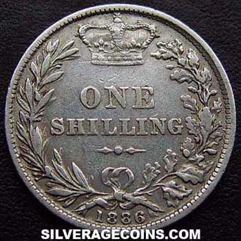 1886 Queen Victoria British Silver Quot Young Head Quot Shilling