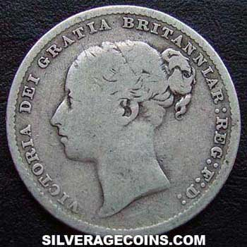 "1886 Queen Victoria British Silver ""Young Head"" Shilling"