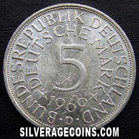 1969 D German Federal Republic Silver 5 Marks