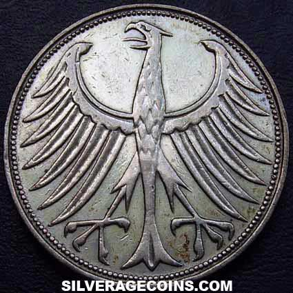 1951G German Federal Republic Silver 5 Marks