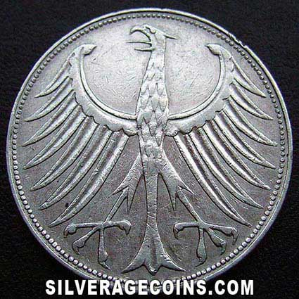 1957F German Federal Republic Silver 5 Marks