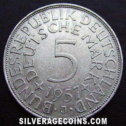 1957J German Federal Republic Silver 5 Marks