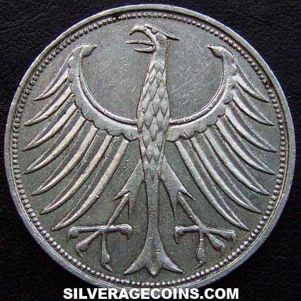 1964J German Federal Republic Silver 5 Marks