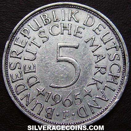 1965F German Federal Republic Silver 5 Marks