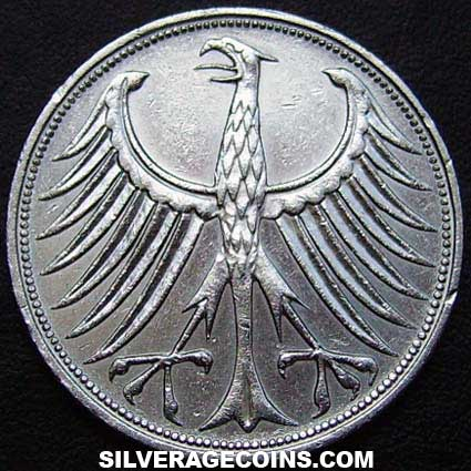1966F German Federal Republic Silver 5 Marks