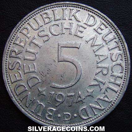 1974D German Federal Republic Silver 5 Marks