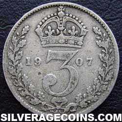 1907 Edward VII British Silver Threepence