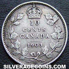 "1903H Edward VII Canadian Silver ""Dime"" 10 cents"