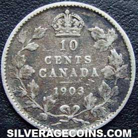 """1903 Edward VII Canadian Silver """"Dime"""" 10 cents"""