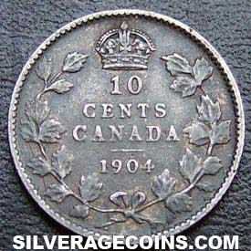 1904 Edward Vii Canadian Silver Dime 10 Cents