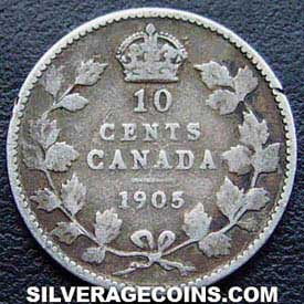"1905 Edward VII Canadian Silver ""Dime"" 10 cents"