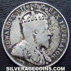 "1906 Edward VII Canadian Silver ""Dime"" 10 cents"