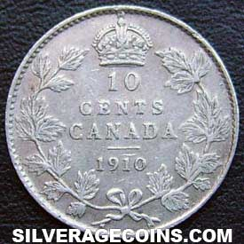 1910 Edward Vii Canadian Silver Dime 10 Cents