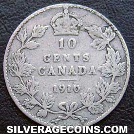 "1910 Edward VII Canadian Silver ""Dime"" 10 cents"
