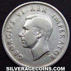 1938 George VI South African Silver Sixpence