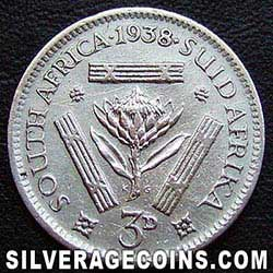 1938 George VI South African Silver Threepence