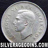 1943 George VI South African Silver Threepence