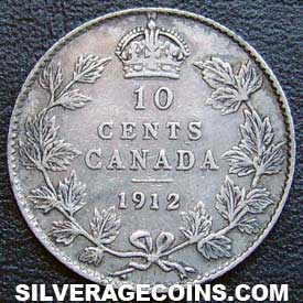 1912 George V Canadian Silver Dime