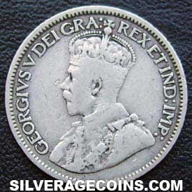 "1913 small lvs. George V Canadian Silver ""Dime"" 10 cents"