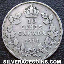 "1914 George V Canadian Silver ""Dime"" 10 cents"