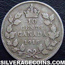 "1918 George V Canadian Silver ""Dime"" 10 cents"